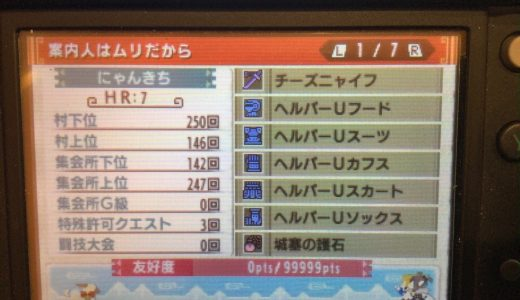 Quest Clear Status of Monster Hunter XX